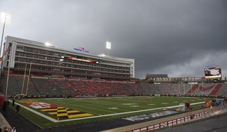 The stadium sits empty after it was evacuated after the first half due to weather concerns after the first half of an NCAA college football game between Bowling Green and Maryland, Saturday, Sept. 12, 2015, in College Park, Md. Play is now being delayed due to lightning and weather concerns. (AP Photo/Nick Wass)