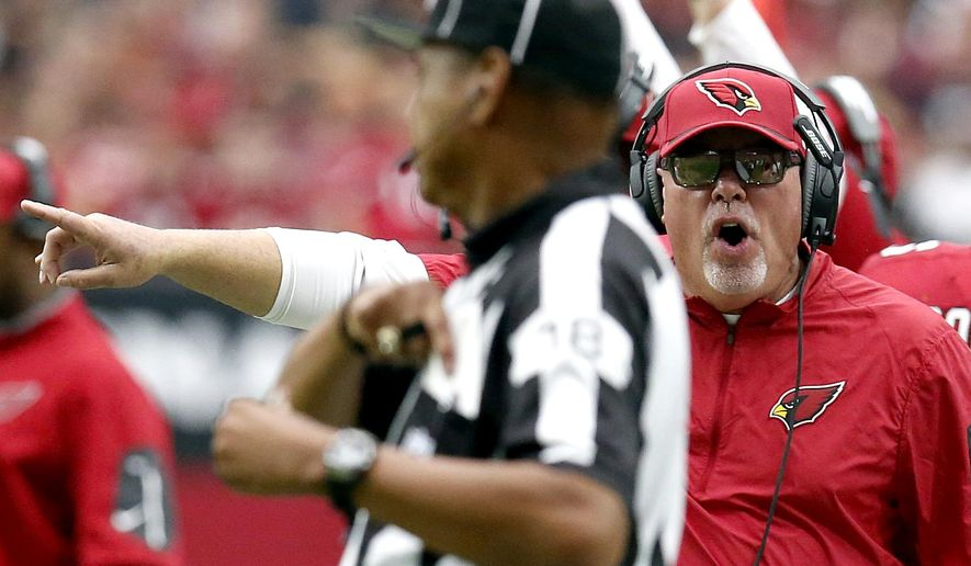 Arizona Cardinals head coach Bruce Arians yells to the official during the first half of an NFL football game against the New Orleans Saints, Sunday, Sept. 13, 2015, in Glendale, Ariz. (AP Photo/Rick Scuteri)