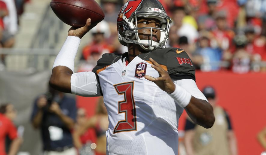Tampa Bay Buccaneers quarterback Jameis Winston (3) looks to throw the ball during the first half of an NFL football game against the Tennessee Titans, Sunday, Sept. 13, 2015, in Tampa, Fla. (AP Photo/Chris O'Meara)