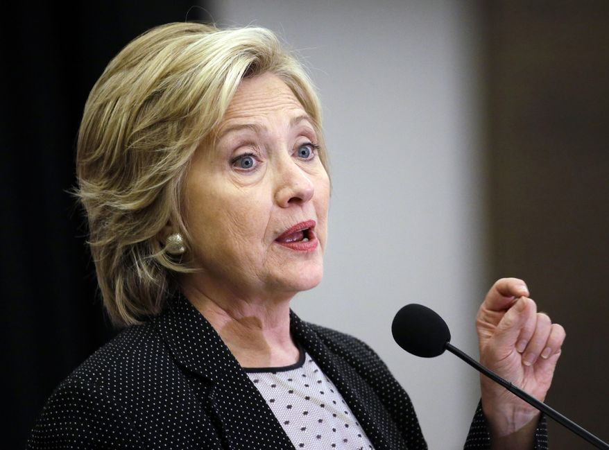 Democratic presidential candidate Hillary Rodham Clinton speaks at the University of Wisconsin-Milwaukee in Milwaukee on Sept. 10, 2015. (Associated Press) **FILE**