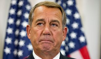 Speaker of the House John Boehner, Ohio Republican, hinted last week that he may sue President Obama to stop the Iran deal, however analysts say judges are likely to avoid such a case, leaving issues like this to the political branches of government to solve. (Associated Press)