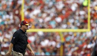 Washington Redskins head coach Jay Gruden walks on the sidelines during the first half of an NFL football game Miami Dolphins Sunday, Sept. 13, 2015, in Landover, Md. (AP Photo/Patrick Semansky)
