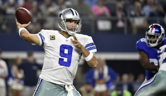 Dallas Cowboys quarterback Tony Romo (9) looks to pass against the New York Giants during the first half of an NFL football game Sunday, Sept. 13, 2015, in Arlington, Texas. (AP Photo/Michael Ainsworth)