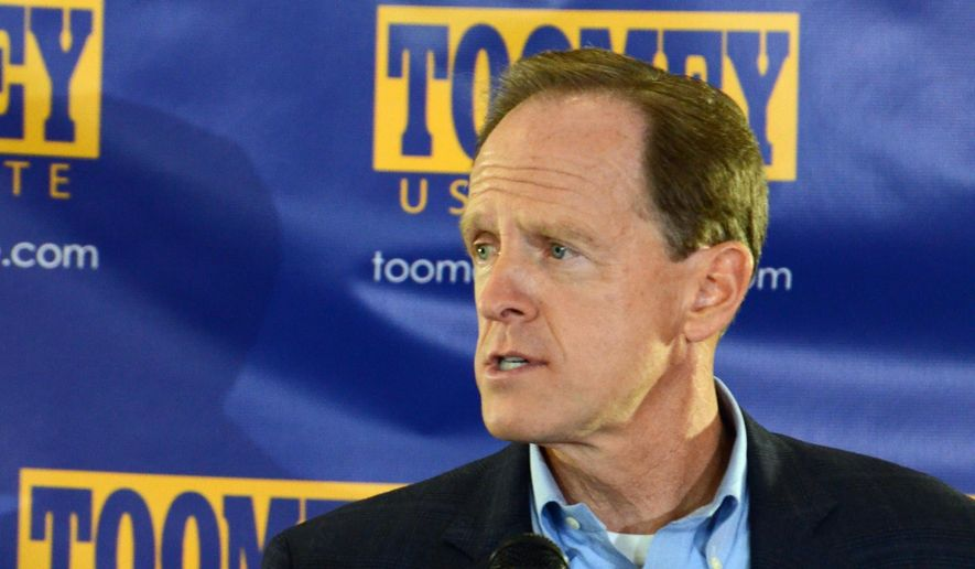 Pennsylvania Republican U.S. Sen. Pat Toomey speaks while announcing that he is running for a second six-year term in office, Sunday, Sept. 13, 2015, in King of Prussia, Pa. (AP Photo/Marc Levy)