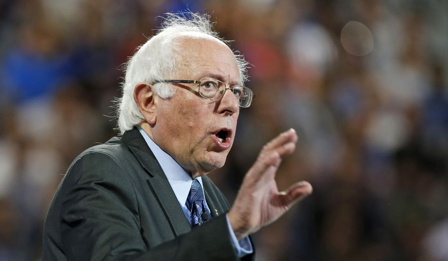 Sen. Bernie Sanders, Vermont independent and Democratic presidential candidate, gestures during a speech at Liberty University in Lynchburg, Va., on Sept. 14, 2015. (Associated Press) ** FILE **
