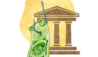 Scamming the Banks Illustration by Greg Groesch/The Washington Times
