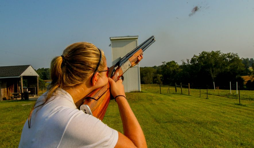 Lindsay Martin, a 17-year-old senior at Glen Allen High School in Glen Allen, Virginia, is honing her shooting skills in the hopes of making the Olympic team. Lindsay is among those who are trying their hand at competitive shooting, a sport that is based on skilled ability, not athletic virtuosity. (Skip Rowland/Special to The Washington Times)