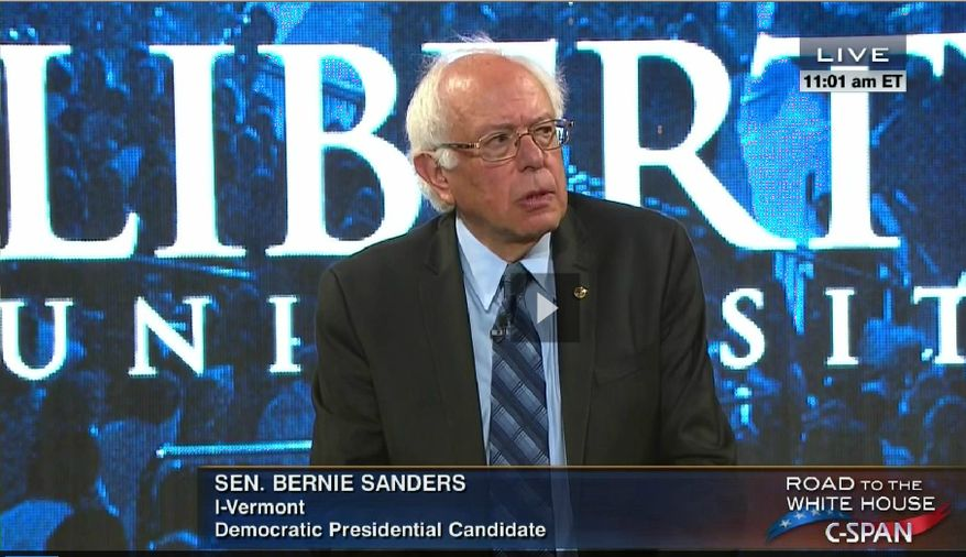 Sen. Bernie Sanders during his speech Monday morning at Liberty University. (Screen image courtesy of C-SPAN)