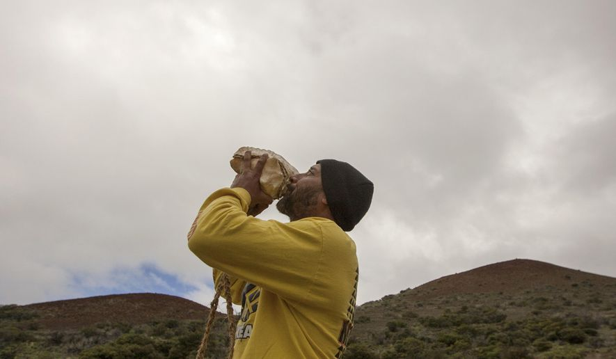 FILE - In this Aug. 31, 2015, file photo, Kupono Mele-Ana-Kekua, who opposes the construction of the Thirty Meter Telescope, blows a conch shell near the summit of Mauna Kea on Hawaii's Big Island. People protesting the construction of the giant telescope on Mauna Kea, a Hawaiian mountain they hold sacred, are decrying the destruction of a stone altar they built near the construction site. The altar known as an ahu was built June 24, the day hundreds of protesters prevented construction crews from reaching the telescope site. (AP Photo/Caleb Jones, File)
