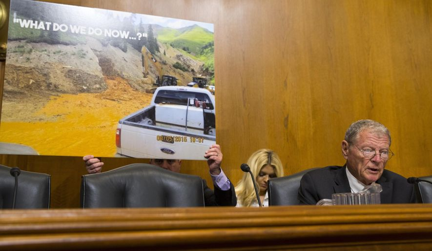 Senate Environment and Public Works Committee Chairman Sen. Jim Inhofe, R-Okla. questions Environmental Protection Agency (EPA) Administrator Gina McCarthy on Capitol Hill in Washington, Wednesday, Sept. 16, 2015, during the committee's hearing on the Gold King Mine wastewater spill. (AP Photo/Evan Vucci)
