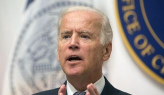 In this Sept. 10, 2015, file photo, Vice President Joe Biden speaks during a news conference at the Office of the Chief Medical Examiner in New York. (AP Photo/Kevin Hagen, File)