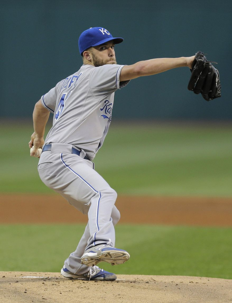 Kansas City Royals starting pitcher Danny Duffy delivers in the first inning of a baseball game against the Cleveland Indians, Wednesday, Sept. 16, 2015, in Cleveland. (AP Photo/Tony Dejak)
