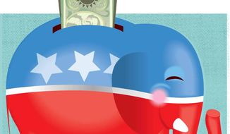 Republican Wealth Building Illustration by Linas Garsys/The Washington Times