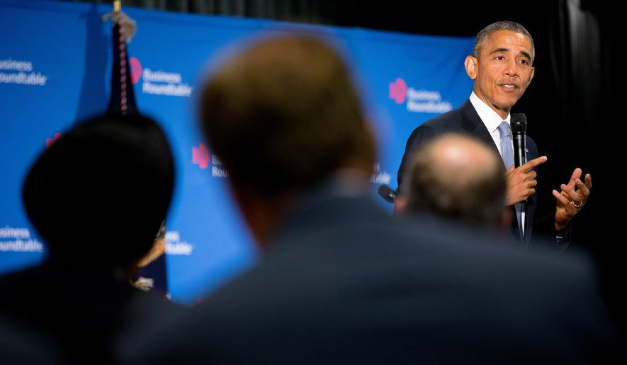 President Obama speaks to business leaders at the quarterly meeting of the Business Roundtable in Washington on Sept. 16, 2015, to renew his calls for increased spending in infrastructure, education and scientific research. (Associated Press)