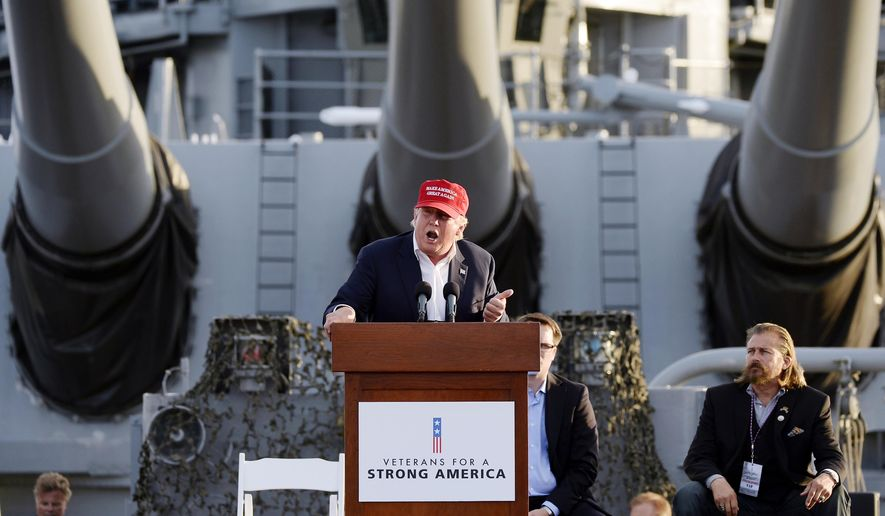 In this Sept. 15, 2015, photo, Republican presidential candidate Donald Trump speaks during a campaign event aboard the retired ship USS Iowa in Los Angeles. (AP Photo/Kevork Djansezian)