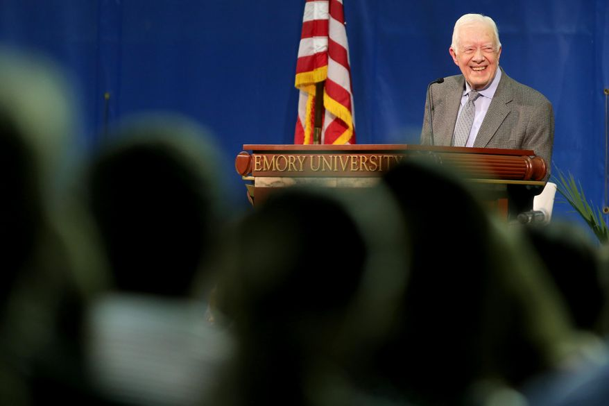 Former President Jimmy Carter answers a question during the annual Carter Town Hall meeting at Emory University in Atlanta on Wednesday, Sept. 16, 2015 where he takes questions from students. (Ben Gray/Atlanta-Journal Constitution via AP) MARIETTA DAILY OUT, GWINNETT DAILY POST OUT, LOCAL TV OUT (WXIA, WGCL, FOX 5)
