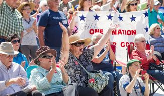 Members of the crowd cheer during a Christian conservatives rally outside the Tennessee Capitol on Thursday, Sept. 17, 2015, in Nashville. (AP Photo/Erik Schelzig) ** FILE **