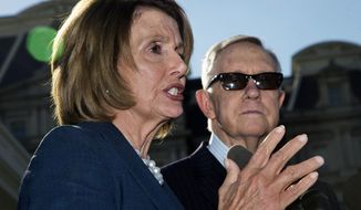 House Minority Leader Nancy Pelosi of Calif., left, accompanied by Senate Minority Leader Harry Reid of Nev., speaks to reporters outside the West Wing of the White House in Washington, Thursday, Sept. 17, 2015, after a meeting with President Barack Obama.    (AP Photo/Manuel Balce Ceneta)