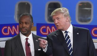 Republican presidential candidates Ben Carson, left, and Donald Trump talk before the start of the CNN Republican presidential debate at the Ronald Reagan Presidential Library and Museum on Wednesday, Sept. 16, 2015, in Simi Valley, Calif. (AP Photo/Mark J. Terrill) ** FILE **
