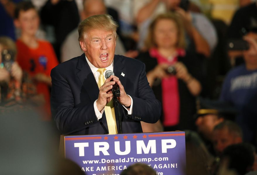 Republican presidential candidate Donald Trump speaks at a town hall event Thursday, Sept. 17, 2015, in Rochester, N.H. (AP Photo/Robert F. Bukaty) ** FILE **