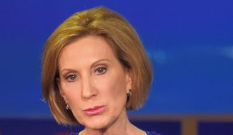 Republican presidential candidate, businesswoman Carly Fiorina makes a point during the CNN Republican presidential debate at the Ronald Reagan Presidential Library and Museum on Wednesday, Sept. 16, 2015, in Simi Valley, Calif. (AP Photo/Mark J. Terrill)