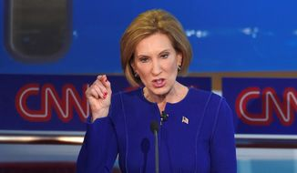 Republican presidential candidate, businesswoman Carly Fiorina speaks during the CNN Republican presidential debate at the Ronald Reagan Presidential Library and Museum on Wednesday, Sept. 16, 2015, in Simi Valley, Calif. (AP Photo/Mark J. Terrill) ** FILE **
