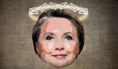 Untouchable Hillary Halo Illustration by Greg Groesch/The Washington Times