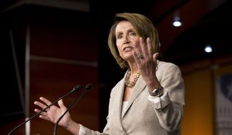 House Minority Leader Nancy Pelosi, California Democrat, speaks during her weekly news conference on Capitol Hill in Washington on Sept. 10, 2015. (Associated Press) **FILE**