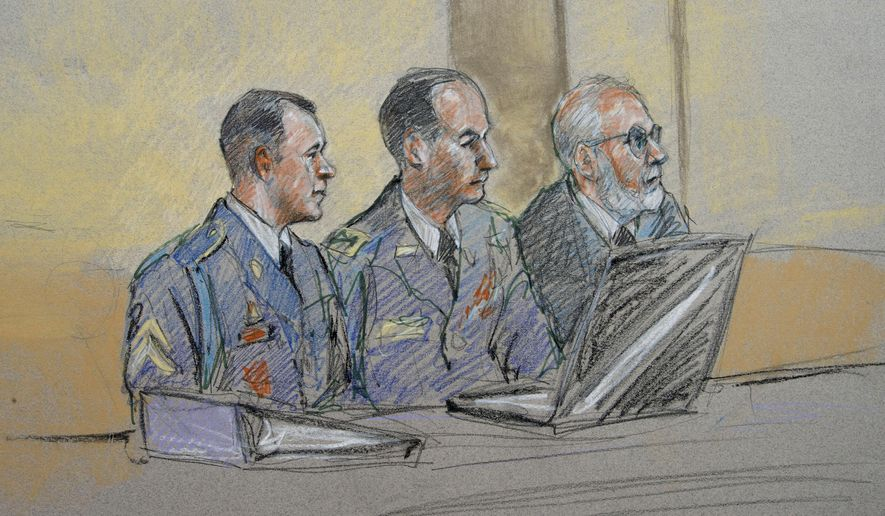 Army Sgt. Bowe Bergdahl, left, defense counsel Lt. Col. Franklin D. Rosenblatt, center, and lead defense counsel Eugene Fidell sit during a preliminary hearing to determine if Sgt. Bergdahl will be court martialed. Bergdahl, who left his post in Afghanistan and was held by the Taliban for five years, is charged with desertion and misbehavior before the enemy. (AP Photo/Brigitte Woosley)