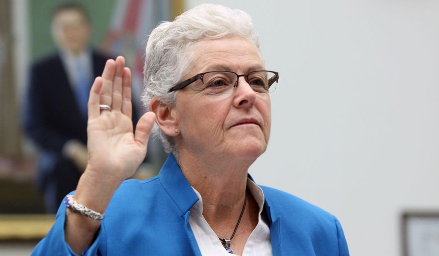 Environmental Protection Agency (EPA) Administrator Gina McCarthy is sworn on  on Capitol Hill in Washington, Thursday, Sept. 17, 2015, prior to testifying before a joint House Oversight and Government Reform and Natural Resources Committees hearing on the Gold King mine spill. (AP Photo/Lauren Victoria Burke) **FILE**