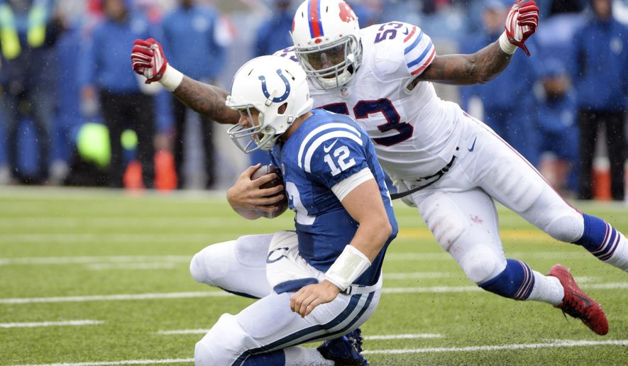 Indianapolis Colts quarterback Andrew Luck (12) slides in front of Buffalo Bills outside linebacker Nigel Bradham (53) during the second half of an NFL football game on Sunday, Sept. 13, 2015, in Orchard Park, N.Y. Buffalo won 27-14. (AP Photo/Gary Wiepert)