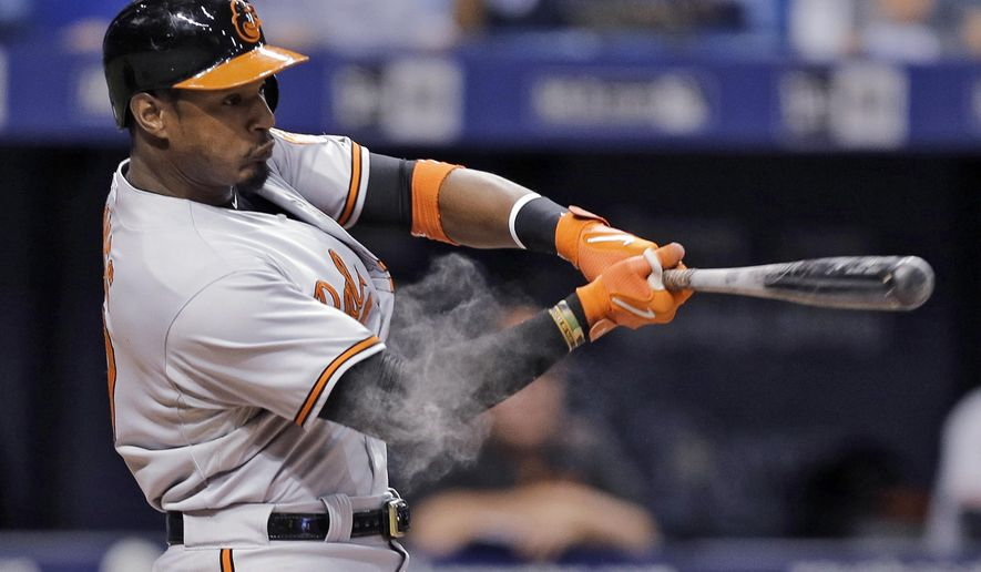 Baltimore Orioles' Adam Jones lines a two-run single off Tampa Bay Rays relief pitcher Alex Colome during the eighth inning of a baseball game Thursday, Sept. 17, 2015, in St. Petersburg, Fla. (AP Photo/Chris O'Meara)