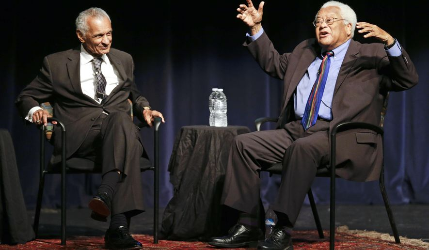 Rev. C.T. Vivian, left, and Rev. James Lawson take part in a discussion at Middle Tennessee State University about the Voting Rights Act Thursday, Sept. 17, 2015, in Murfreesboro, Tenn. The two legends of the Civil Rights Movement say they're encouraged by efforts to maintain equality at the polls amid what they see as attempts to thwart it. (AP Photo/Mark Humphrey)