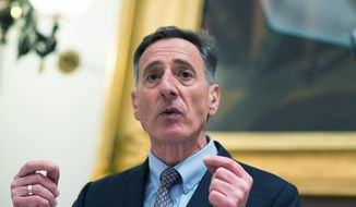 In this Jan. 15, 2015 file photo, Gov. Peter Shumlin delivers his budget address at the Statehouse in Montpelier, Vt. (AP Photo/Andy Duback, file)