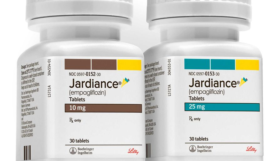 This product image provided by Boehringer Ingelheim Pharmaceuticals shows bottles of Jardiance, a daily pill for Type 2 diabetes. Jardiance sharply reduced chances of dying in diabetic patients at high risk of heart complications, a study shows, making the medication the first shown to lengthen diabetics' lives. (Boehringer Ingelheim Pharmaceuticals via AP)