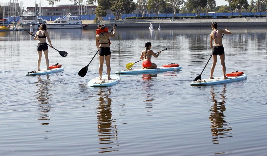 Stand-up paddle board enthusiasts take to the harbor at Marina Del Rey, Calif., on Thursday, Sept. 17, 2015. A slight ocean surge and powerful currents were reported at points along the entire coast of California as a very small tsunami arrived early Thursday following a magnitude-8.3 earthquake that hit off the coast of Chile, scientists and local officials said. Swimmers and surfers were warned of potentially strong currents. (AP Photo/Nick Ut)