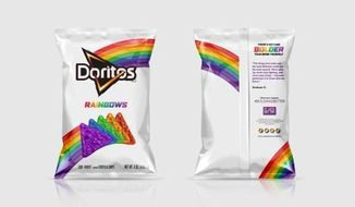 Doritos is launching a limited-edition bag of rainbow-colored tortilla chips in honor of LGBT pride. (Frito-Lay)