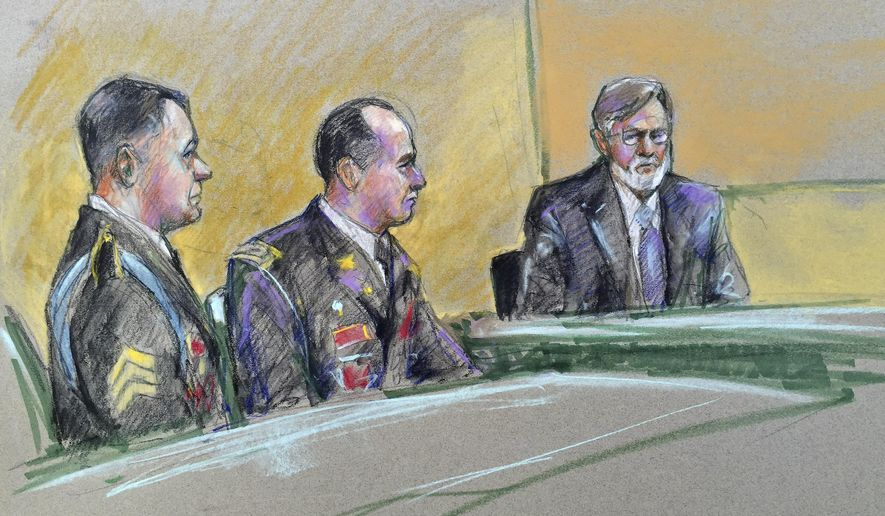 Army Sgt. Bowe Bergdahl, left, and defense counsel Lt. Col. Franklin D. Rosenblatt, center, look on as a witness for the defense Terrence Russell is questioned during a preliminary hearing to determine if Sgt. Bergdahl will be court-martialed, Friday, Sept. 18, 2015, at Fort Sam Houston, Texas. Bergdahl, who left his post in Afghanistan and was held by the Taliban for five years, is charged with desertion and misbehavior before the enemy. (AP Photo/Brigitte Woosley)