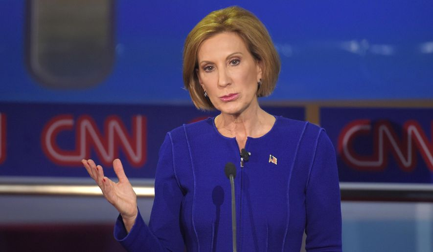 Republican presidential candidate, businesswoman Carly Fiorina makes a point during the CNN Republican presidential debate at the Ronald Reagan Presidential Library and Museum on Wednesday, Sept. 16, 2015, in Simi Valley, Calif. (AP Photo/Mark J. Terrill) ** FILE **