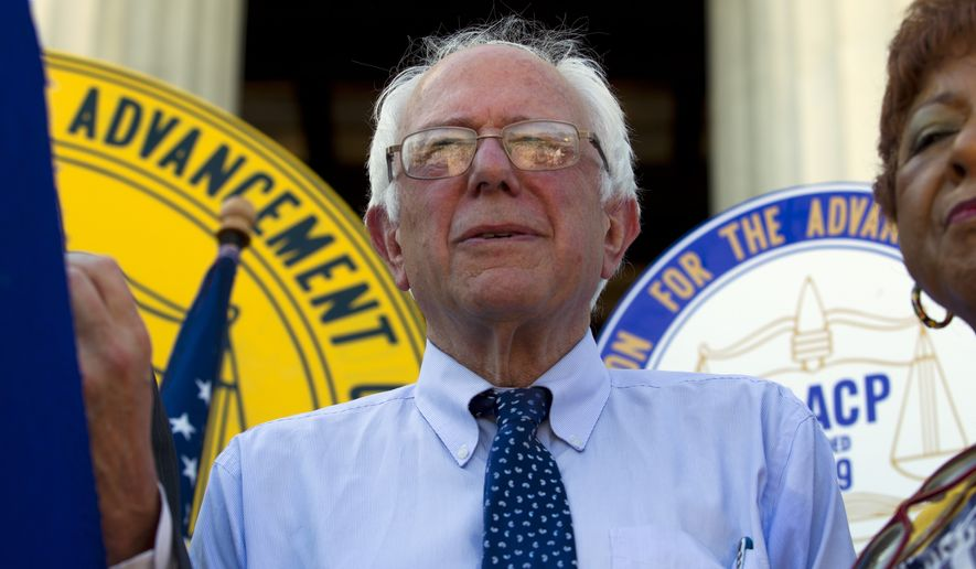 Democratic presidential candidate Sen. Bernie Sanders, I-Vt., speaks at a civil rights rally at Lincoln Memorial in Washington Tuesday, Sept. 15, 2015. America's Journey for Justice, an historic 1,000 mile civil rights march that started in Selma, Ala. Aug. 1, finishing in Washington with a rally at Lincoln Memorial.  ( AP Photo/Jose Luis Magana)