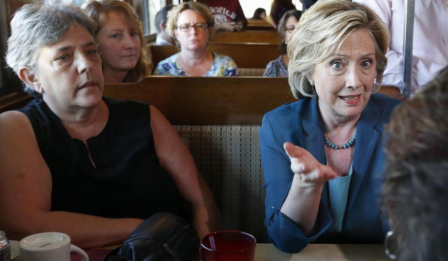 Democratic presidential candidate Hillary Rodham Clinton speaks with customers during a campaign stop at the Union Diner in Laconia, N.H., on Sept. 17, 2015. (Associated Press)