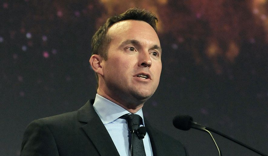 This photo provided by the U.S. Air Force shows Eric Fanning speaking at the 30th Space Symposium Corporate Partnership dinner May 20, 2014, in Colorado Springs, Colo. President Barack Obama is nominating longtime Pentagon official Eric Fanning to be the Army's new secretary. If confirmed, Fanning would be the nation's first openly gay leader of a military service. (Duncan Wood/U.S. Air Force via AP)