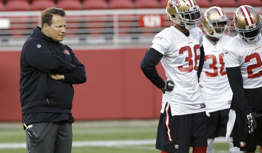 "FILE- In this Aug. 1, 2015, file photo, San Francisco 49ers defensive coordinator Eric Mangini, left, watches during  NFL football training camp in Santa Clara, Calif. Linebacker Michael Wilhoite calls him ""Mangenius."" That nickname for 49ers defensive coordinator Eric Mangini might stick if San Francisco can deliver another defensive shutdown like the one against Minnesota. (AP Photo/Jeff Chiu, File)"
