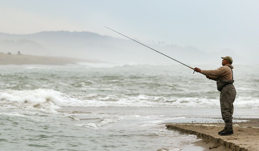 In this Sept. 14, 2015 photo, Phil Pope, of McMinnville, casts out into Siletz Bay as the high tide comes in while fishing for salmon, in Lincoln City, Ore. Brian Riggers and several other staffers from the Oregon Department of Fish and Wildlife were at the dock at Knight Park at the mouth of Salmon River north of Lincoln City doing creel check of anglers as they arrived. (Brent Drinkut/Statesman-Journal via AP) MANDATORY CREDIT