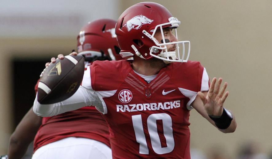 Arkansas' Brandon Allen passes during an NCAA college football game against Texas Tech, Saturday, Sept. 19, 2015,  in Fayetteville, Ark. (AP Photo/Samantha Baker)