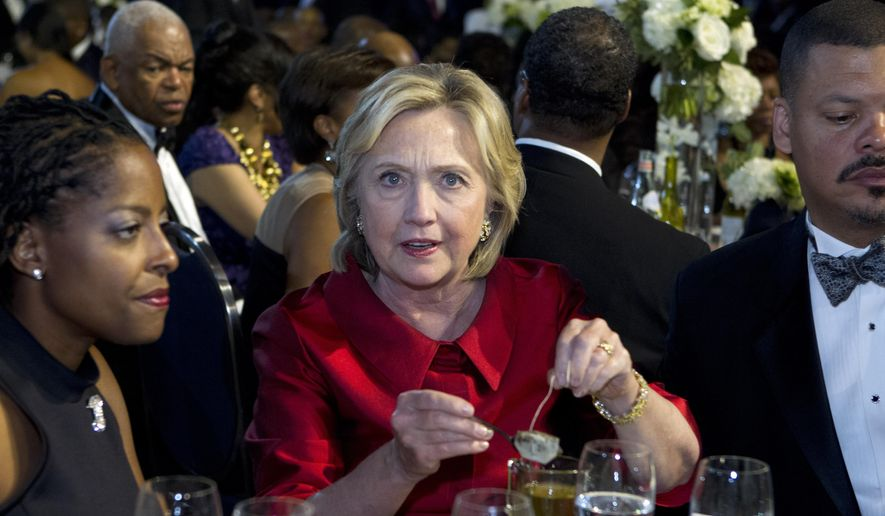 Democratic presidential candidate Hillary Rodham Clinton attends the the Congressional Black Caucus Foundation's 45th Annual Legislative Conference Phoenix Awards Dinner at the Washington Convention Center in Washington on Saturday, Sept. 19, 2015. (AP Photo/Jose Luis Magana)
