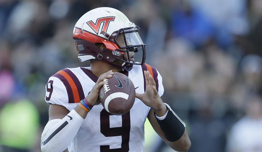 Virginia Tech's Brenden Motley (9) throws during the second half of an NCAA college football game against Purdue, Saturday, Sept. 19, 2015 in West Lafayette, Ind. Virginia Tech won the game 51-24. (AP Photo/Darron Cummings)