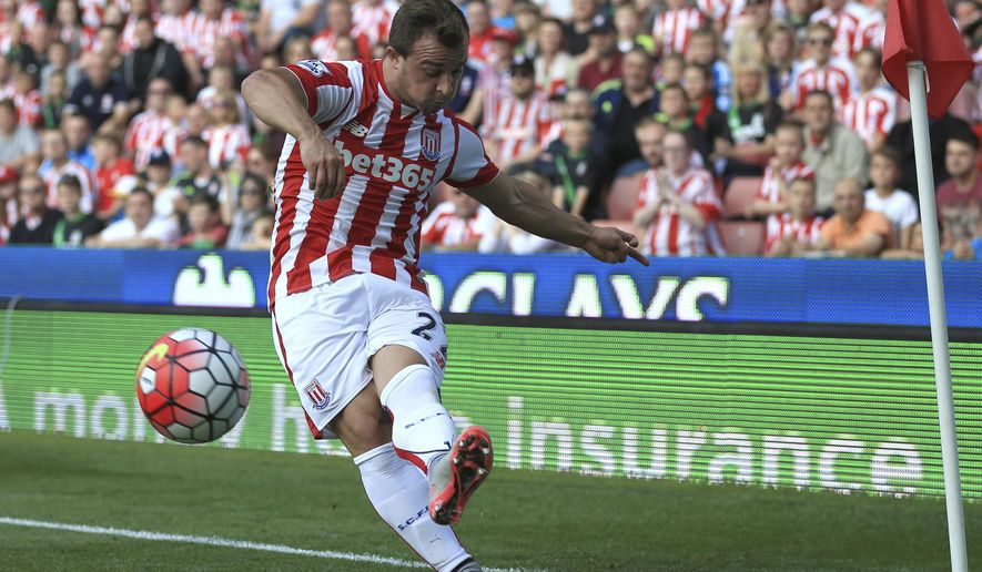 Stoke City's Xherdan Shaqiri takes a corner against Leicester City during the English  Premier League match at the Britannia Stadium, in Stoke England  Saturday Sept. 19, 2015. (Nigel French/PA via AP) UNITED KINGDOM OUT