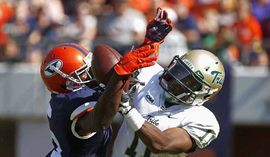 William & Mary wide receiver DeVonte Dedmon (11) catches a touchdown pass over Virginia cornerback Tim Harris (5) during the first half of an NCAA college football game on Saturday, Sept. 19, 2015 in Charlottesville, Va. (Ryan. M. Kelly//The Daily Progress via AP) MANDATORY CREDIT