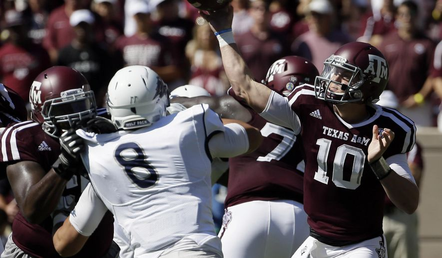 Texas A&M quarterback Kyle Allen (10) throws a pass against Nevada during the first half of an NCAA college football game Saturday, Sept. 19, 2015, in College Station, Texas. (AP Photo/David J. Phillip)